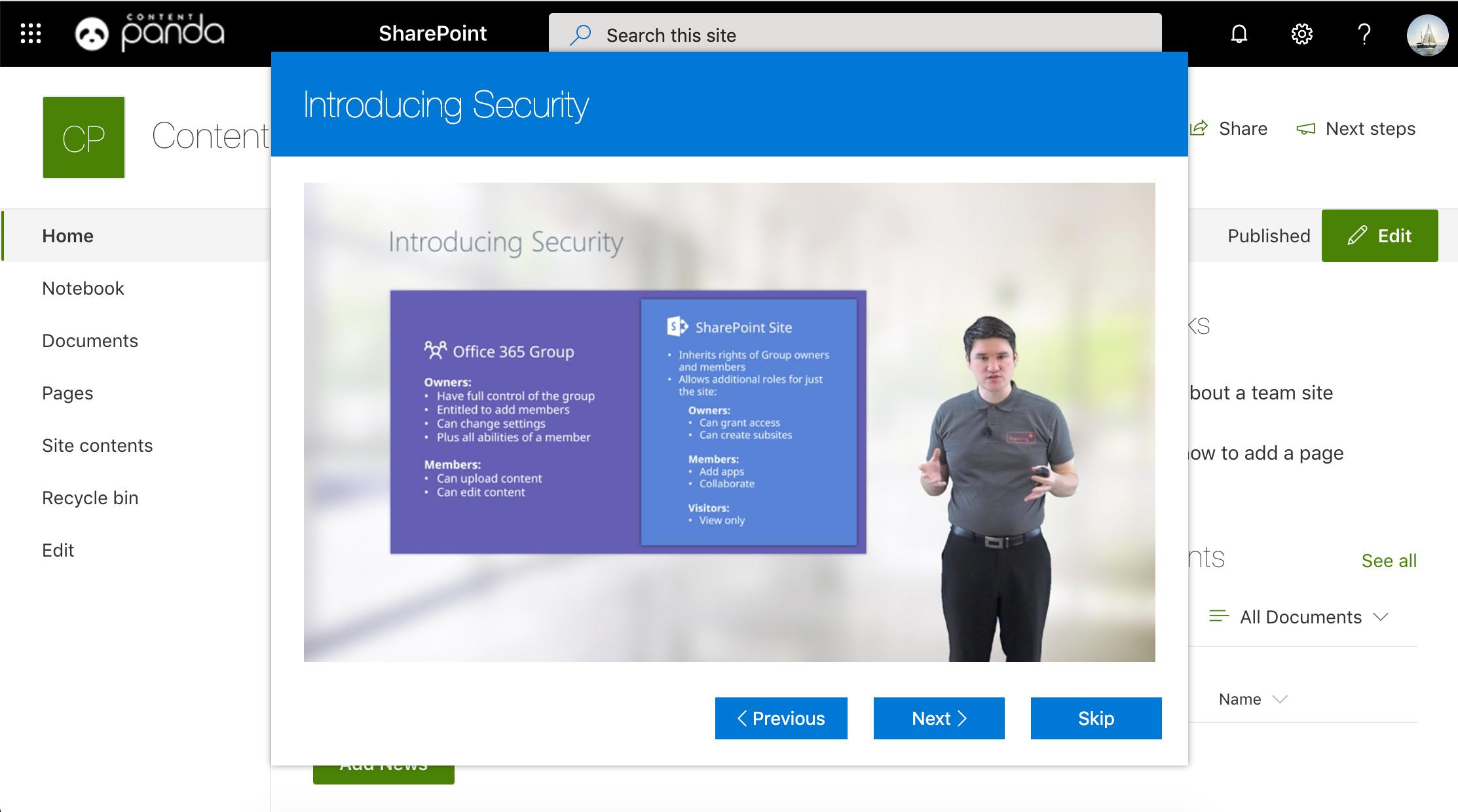 Screenshot of Office 365 training module inside a SharePoint site.