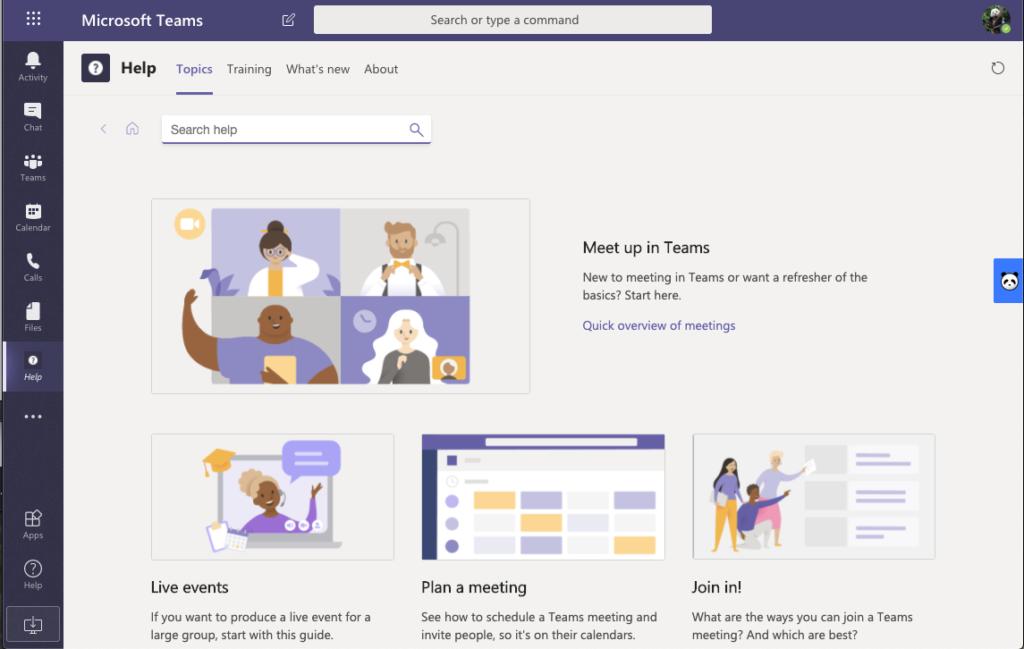 Screenshot of Microsoft Teams Help within Microsoft Teams application.